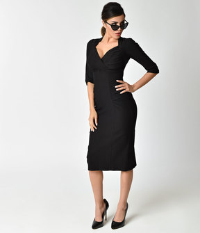 Stop Staring 1960s Black Stretch Sleeved Loma Wiggle Dress