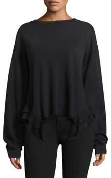 Current/Elliott Slouchy Ruffle Cotton Sweatshirt