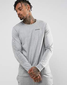 Converse Graphic Wordmark Long Sleeve T-Shirt In Gray 10004707-A03