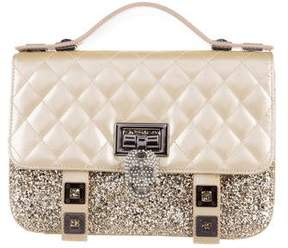 Philipp Plein Quilted Leather & Glitter Skull Satchel
