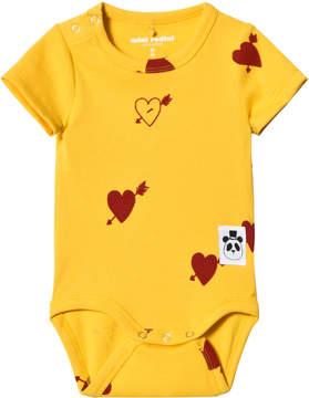 Mini Rodini Yellow Red Heart Rib Body