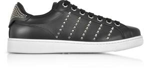 DSQUARED2 Black Leather Men's Sneakers w/Studs