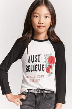 Forever 21 Girls Just Believe Raglan Tee (Kids)