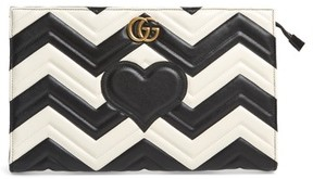 Gucci Gg Marmont Matelasse Leather Clutch - White - WHITE - STYLE