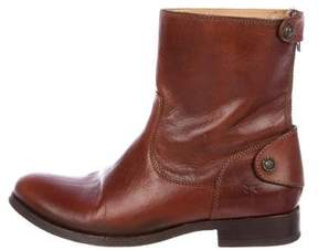Frye Melissa Button Zip Short Leather Ankle Boots