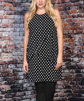 Celeste Black & White Polka Dot Layered Sleeveless Tunic - Plus