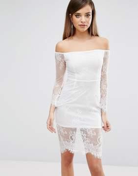 Club L Lace Bardot Detail Midi Dress