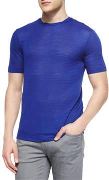 Armani Collezioni Tonal Stripe Short-Sleeve T-Shirt, Bright Blue