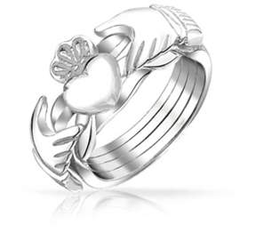 Celtic Bling Jewelry 925 Sterling Silver Heart Claddagh Puzzle Ring Band.