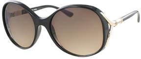 Kay Unger Black Caroline Oversize Round Sunglasses