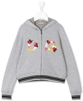 Dolce & Gabbana embellished floral logo zipped hoodie