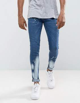 Criminal Damage Muscle Fit Super Skinny Jeans With Bleach