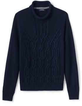 Lands' End Lands'end Men's Cable Roll Neck Sweater