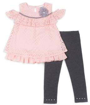 Little Lass Little Girl's Two-Piece Cold-Shoulder Top and Leggings Set
