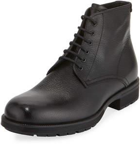 Aquatalia Harvey Tumbled Lace-Up Boot, Black