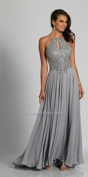 Dave and Johnny Low Back Keyhole Embellished A-line Prom Dress