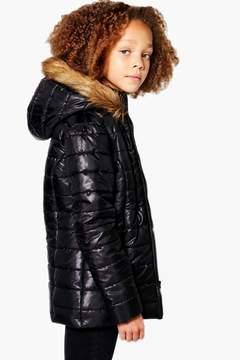 boohoo Girls Padded Faux Fur Hooded Coat