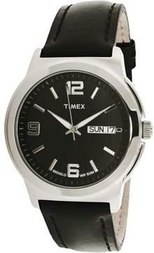 Timex Men's Elevated Classics T2E561 Black Leather Quartz Dress Watch