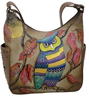 Anuschka Women's Genuine Leather Shoulder Bag | Hand Painted Original Artwork | Classic Hobo With Studded Side Pockets |