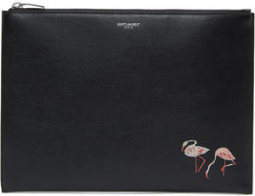 Saint Laurent Black Flamingo Zip Pouch