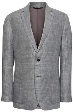Banana Republic Standard Gray Plaid Linen Suit Jacket