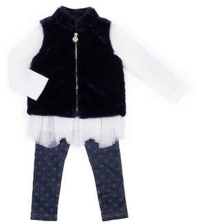 Nicole Miller Floral Top, Faux Fur Vest & Foil Dot Legging Set (Toddler Girls)