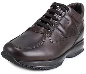 Hogan Interactive Uomo Allacciato Youth Leather Brown Fashion Sneakers.
