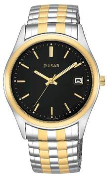 Pulsar Men's Calendar Watch - Two Tone with Black Dial - PXH428