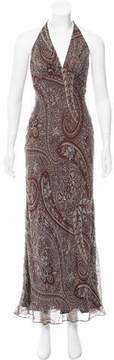 Carmen Marc Valvo Beaded Paisley Print Dress