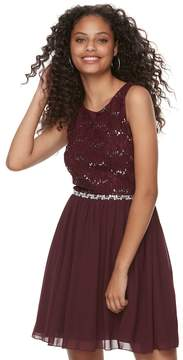 Speechless Juniors' Sequin Lace & Chiffon Party Dress
