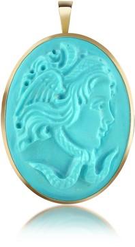 Del Gatto Medusa Turquoise Paste Cameo Pendant/Pin