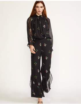 Cynthia Rowley | Siren Silk Printed Pant With Ruffle | Xl | Black