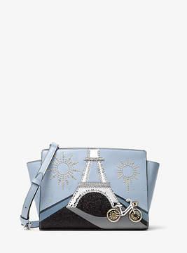 Michael Kors Selma Nouveau Novelty Paris Leather Messenger - BLUE - STYLE