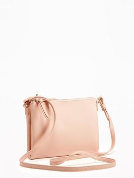 Double-Zip Top Crossbody Bag for Women