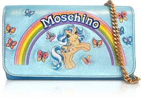 Moschino My Little Pony Laminated Leather Wallet Clutch w/Chain