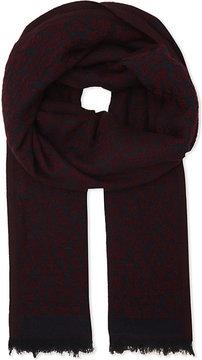 Maje Epopee leopard print wool-silk-blend scarf