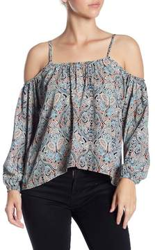 Cupcakes And Cashmere Julina Cold Shoulder Printed Blouse