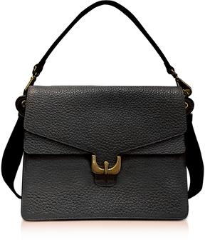 Coccinelle Ambrine Black Bubble Leather Satchel Bag