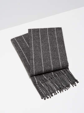 Frank and Oak Wool-Blend Pinstripe Scarf in Charcoal