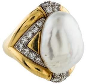 David Webb Baroque Pearl & Diamond Cocktail Ring