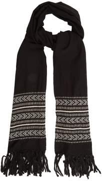 Saint Laurent Tassel-trimmed chevron wool-blend scarf