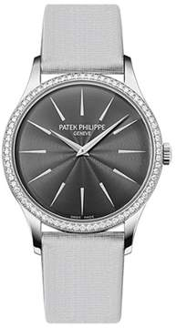 Patek Philippe Calatrava 4897G-010 18K White Gold Satin & 0.47ct Diamond 33mm Watch