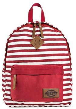 Dickies Women's Canvas Backpack Handbag with Stripes and Zip Closure - Red