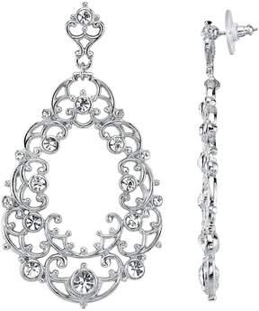 1928 Crystal Victorian Filigree Drop Earrings