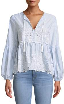 Cynthia Steffe Cece By Eyelet-Embroidered Balloon-Sleeve Blouse