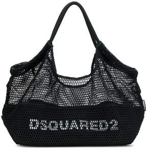 DSQUARED2 logo fishnet tote bag