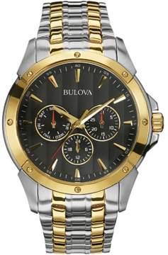 Bulova Sports 98C120 Silver and Gold/Black Analog Quartz Men's Watch