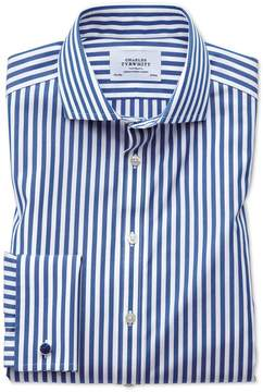 Charles Tyrwhitt Slim Fit Spread Collar Non-Iron Bengal Stripe Blue Cotton Dress Shirt French Cuff Size 15/33