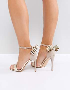 Office Harriet Gold Mix Bow Detail Heeled Sandals