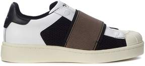 Moa Slip On In Black And White Fabric With Brown Strap